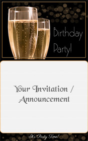 Happy Birthday Invitation Champagne Bokeh